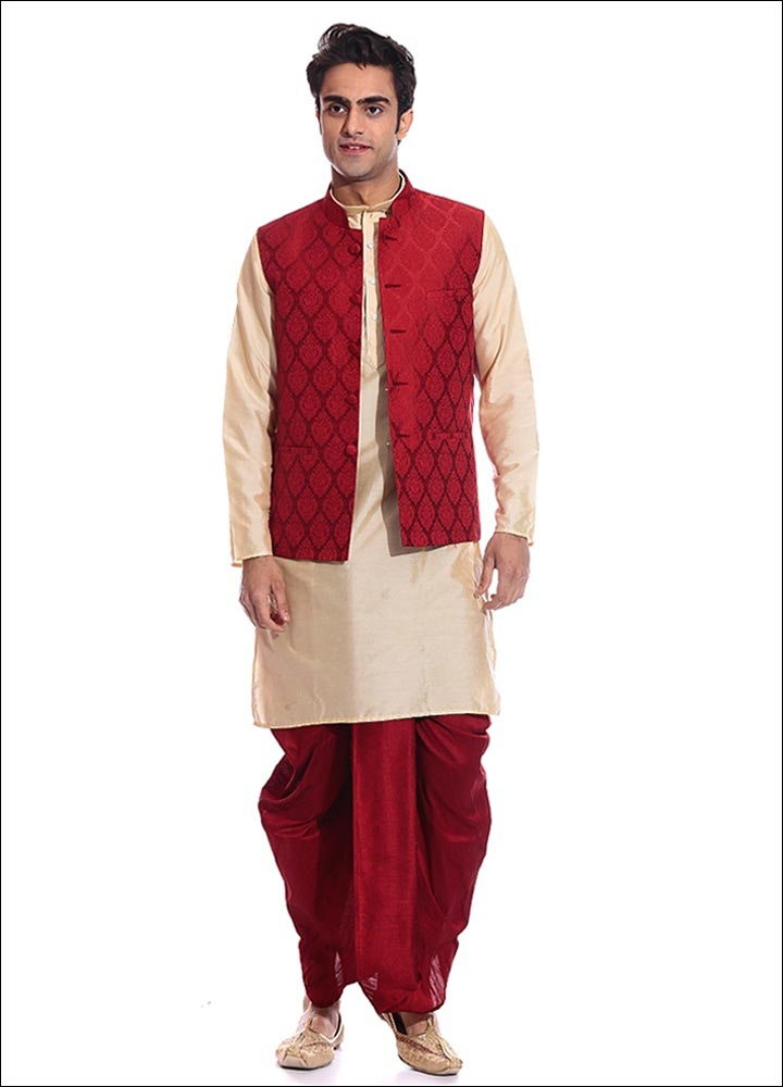 Indian Groom Dress Options - Red Jacket And Dhoti-Kurta Set