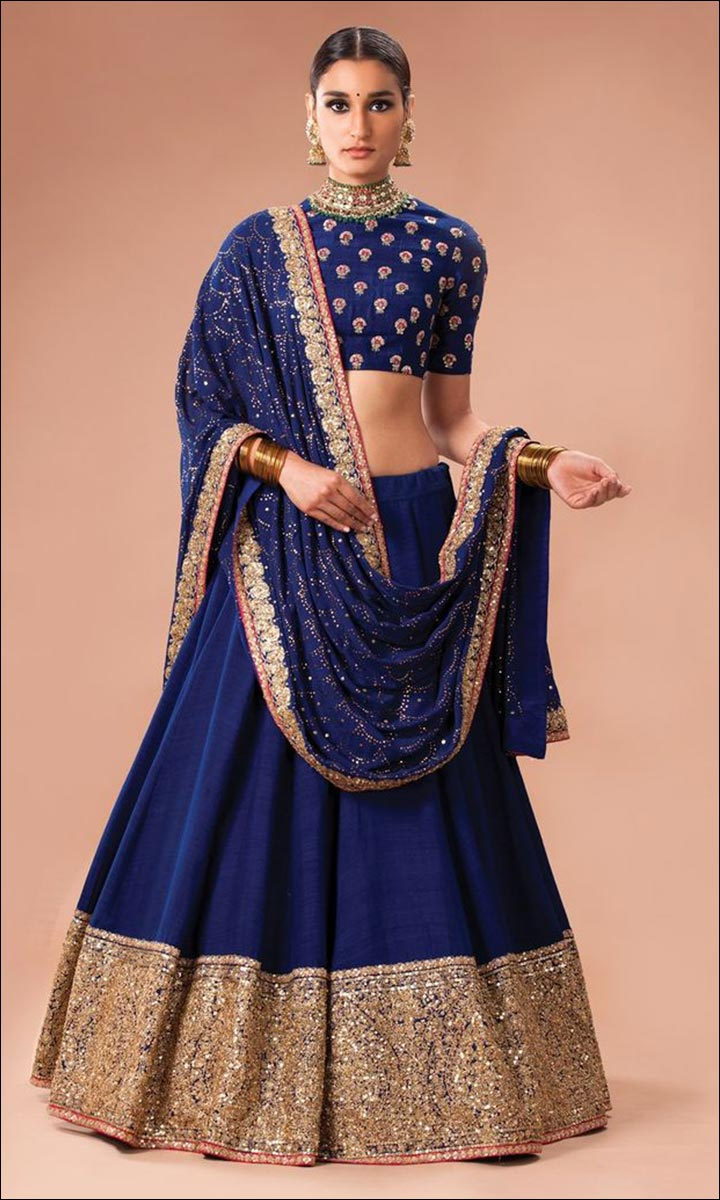 Royal Blue And Gold Lehenga With A Mukaish Dupatta