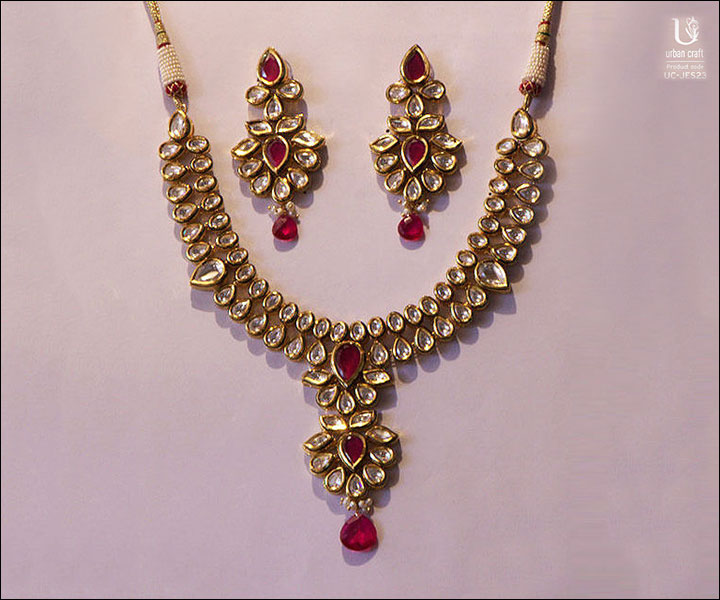 Wedding Necklace Designs - Royal Kundan Ruby Set