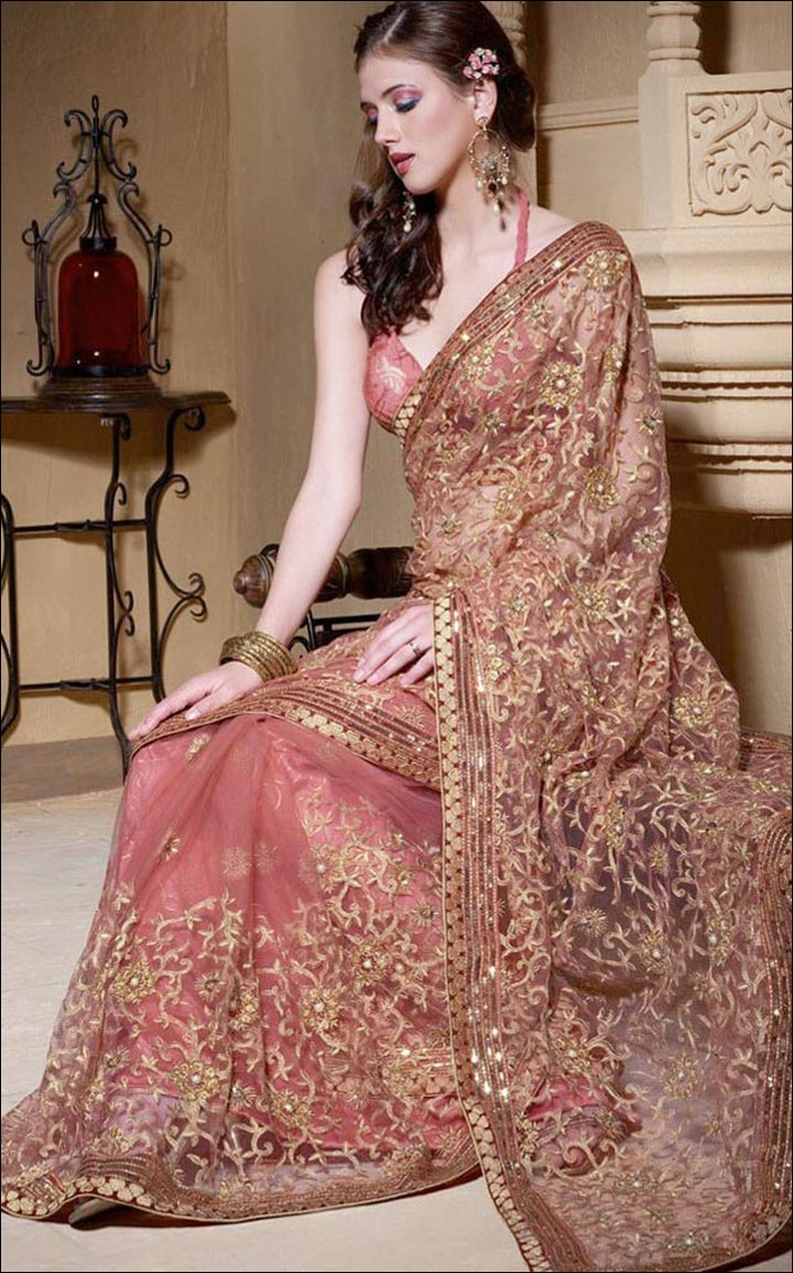 Indian Wedding Dresses Sheer Saree