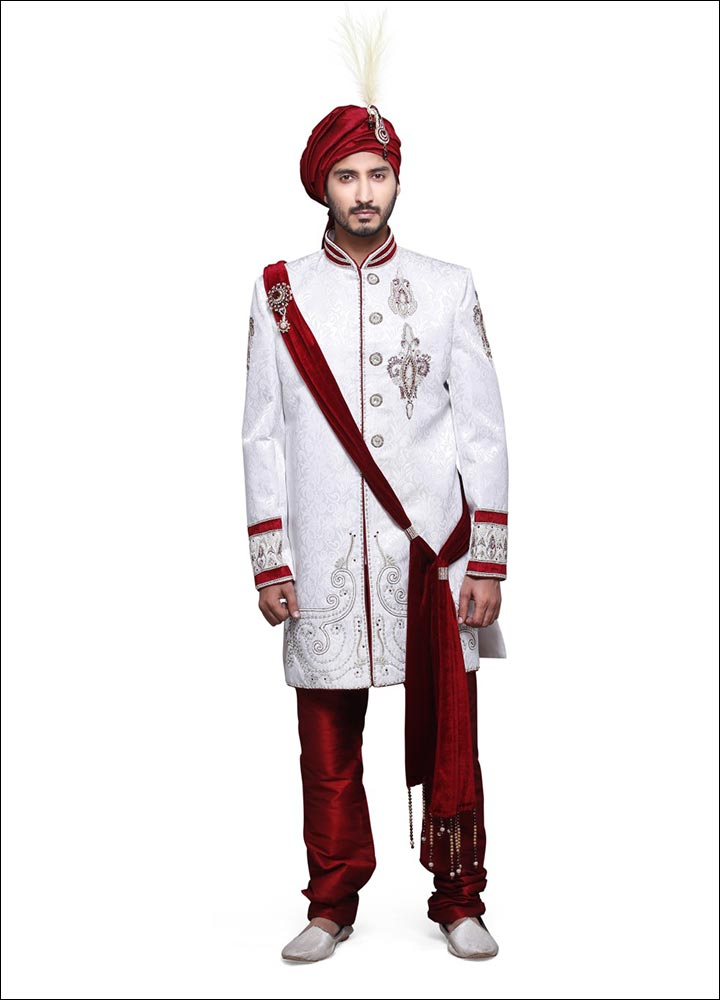 Indian Groom Dress Options - Sherwani With Ornate Brooches