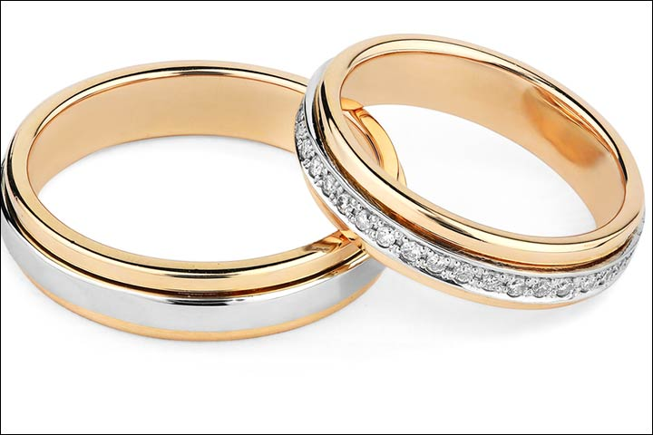 Engagement Rings For S Silver And Golden Pair
