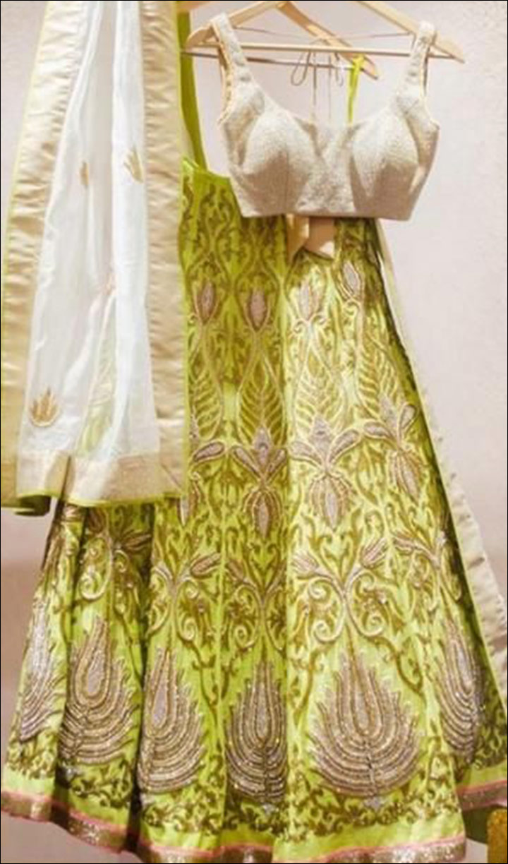 Silver-And-Lime-Lehenga