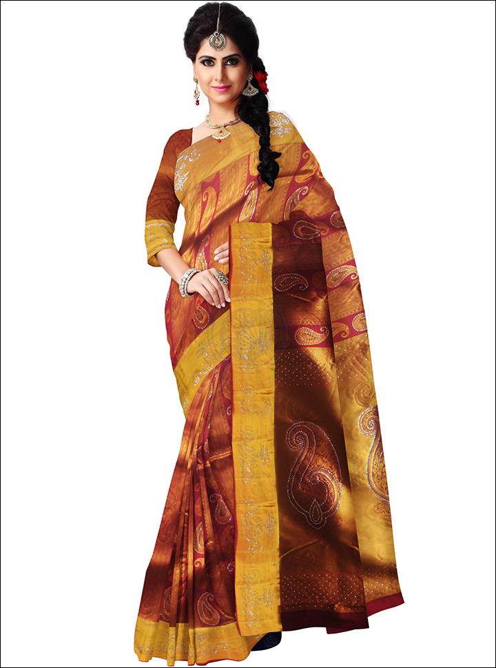 South Indian Wedding Sarees - Swarovski Stone Work Silk Saree