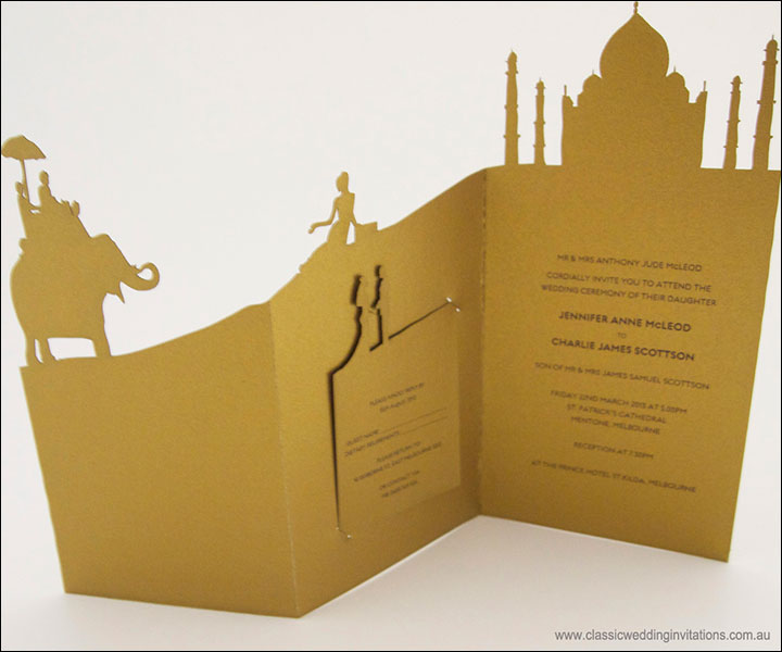Indian Wedding Invitation Templates - 'Our Story' With The Taj Mahal Motif