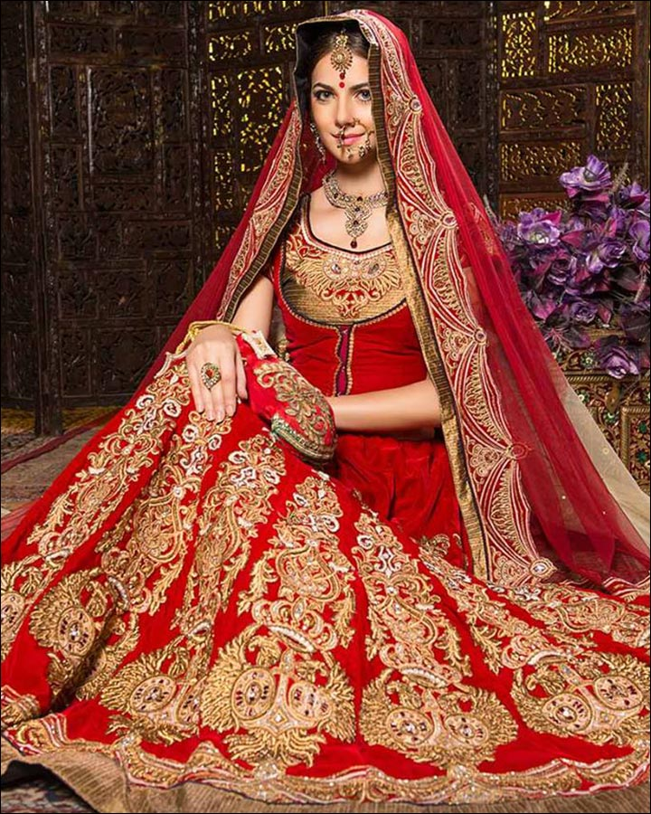 Indian Wedding Dresses - Traditional Red And Gold Lehenga