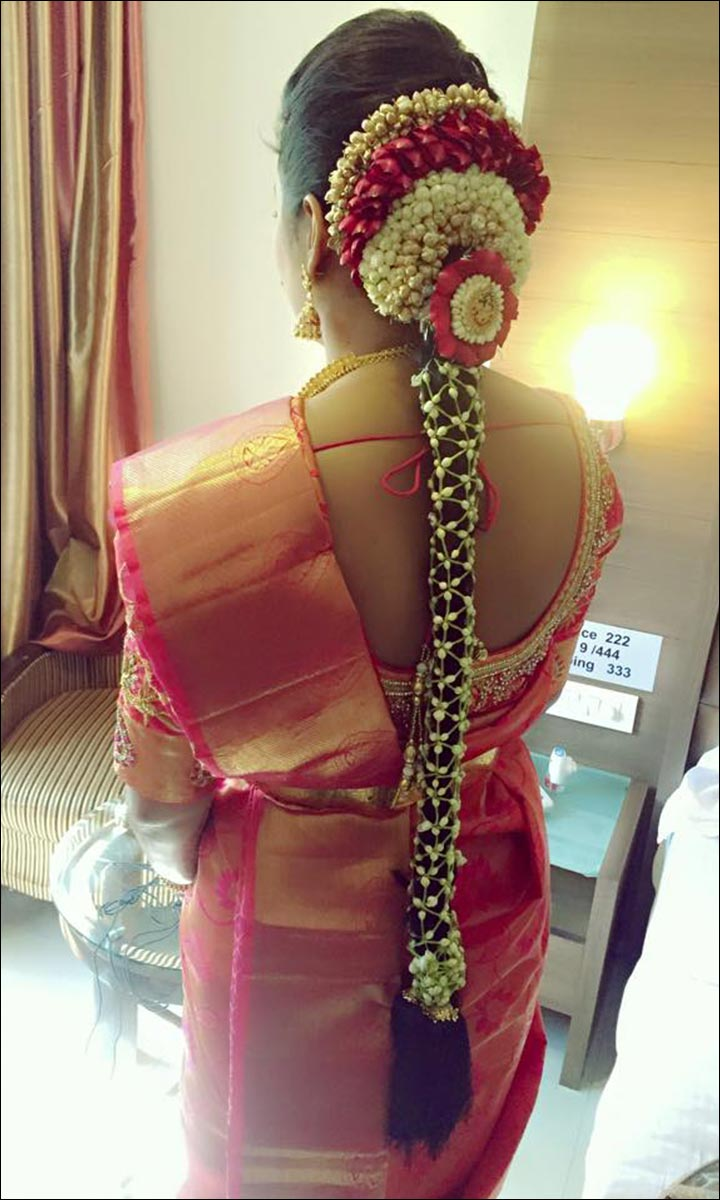 Bridal Hairstyles - Traditional South Indian Bridal Hairdo With Floral Embellishments