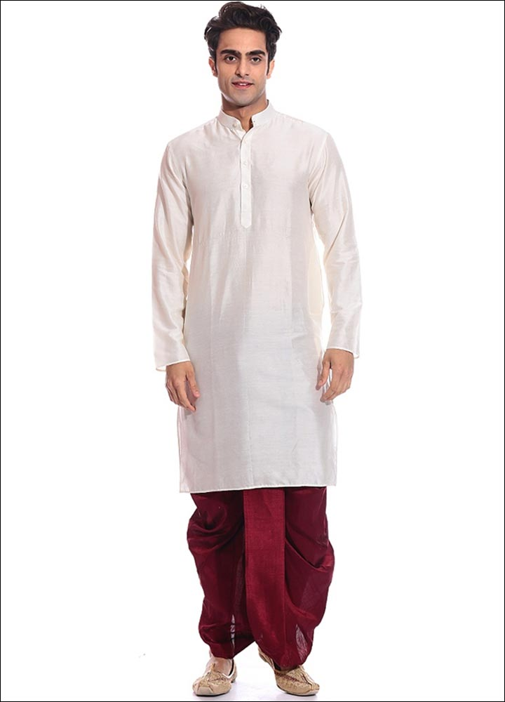 Indian Groom Dress Options - White Kurta With Red Dhoti