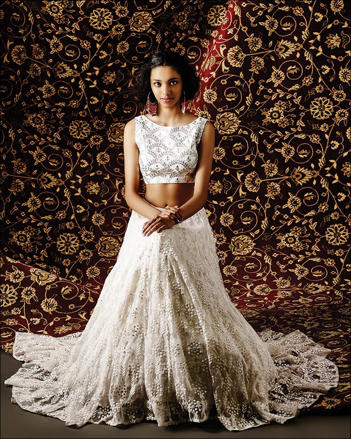 Engagement Dresses - White Lehenga With Gota Patti