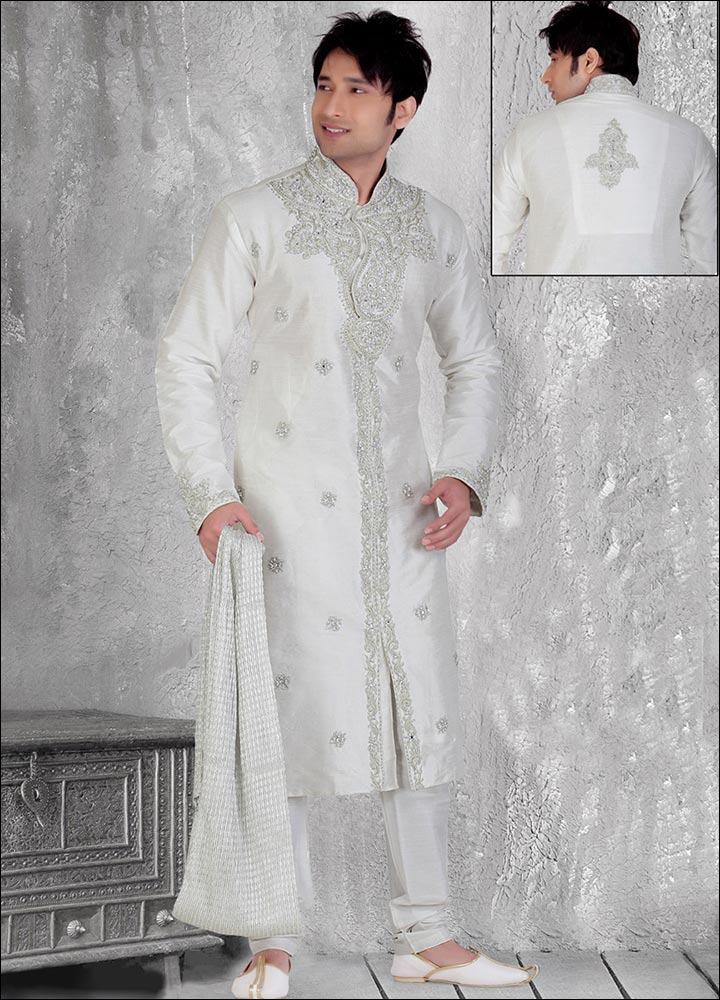Indian Groom Dress Options - White Polyester Sherwani