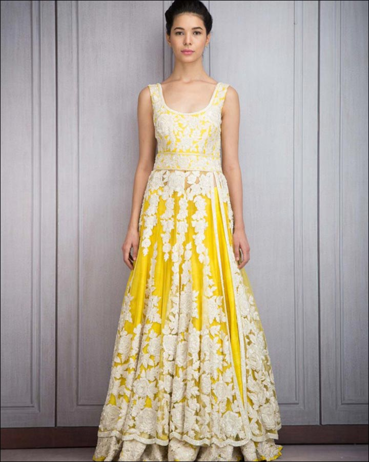 Engagement Dresses - Yellow Lehenga With Resham Embroidery