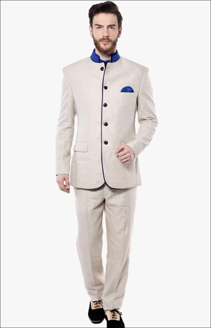 Jodhpuri Suits For Wedding - Beige Solid Jodhpuri Suit