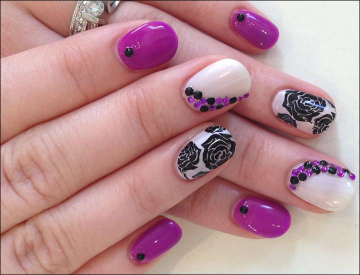 Bridal Nail Art Designs - Black Rose Bridal Nail Art