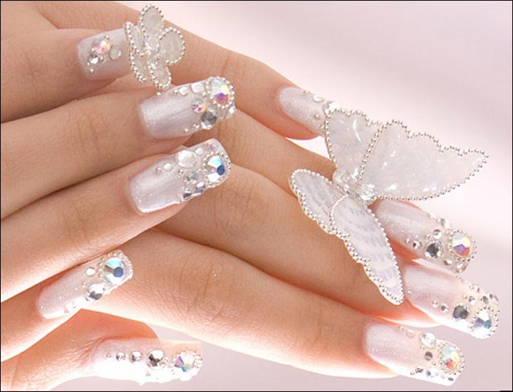 Bridal Nail Art Designs - Butterflies Bridal Nail Art