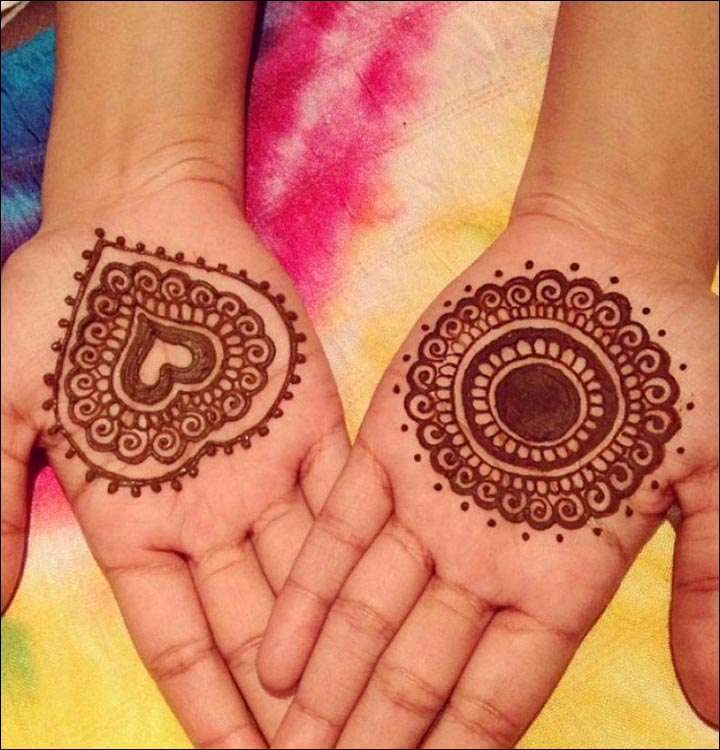 Circle Mehndi Designs - Circular Mehndi With Heart Shape Design