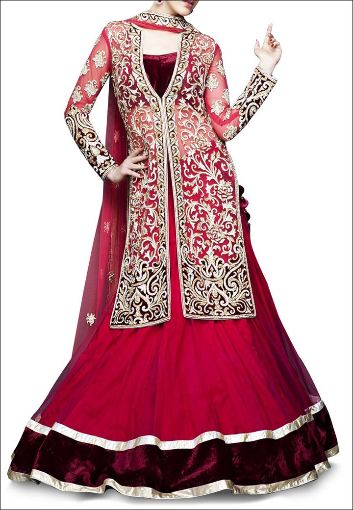 Lehenga For Engagement - Coral Jacket Style Velvet Lehenga