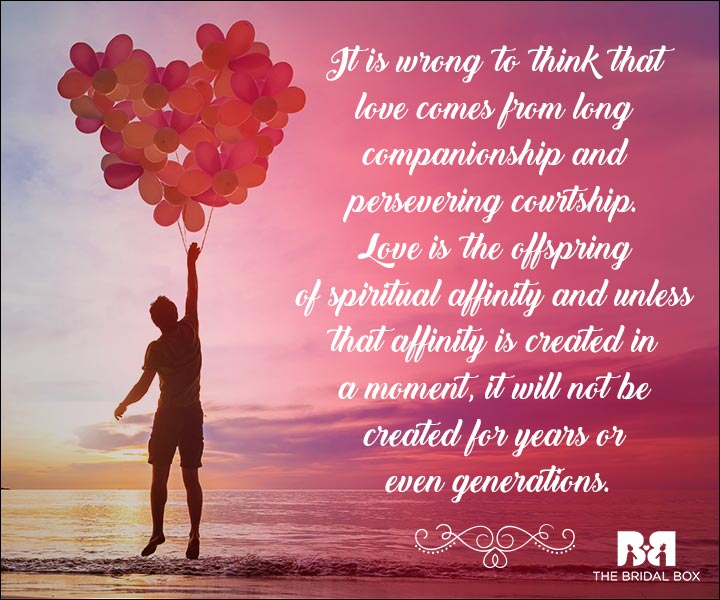 Emotional Love Quotes - The Offspring Of Spiritual Affinity
