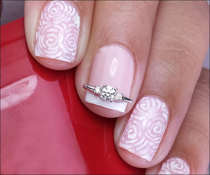 Bridal Nail Art Designs - French Roses Bridal Nail Art