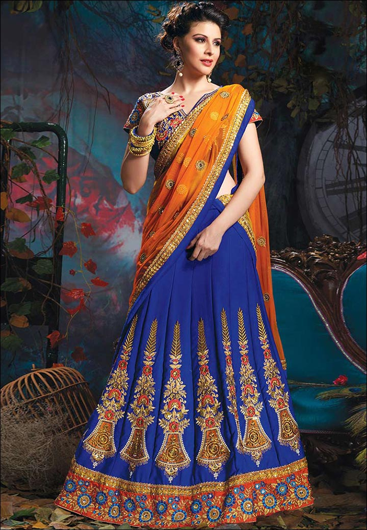 Lehenga For Engagement - Half Saree Style Lehenga