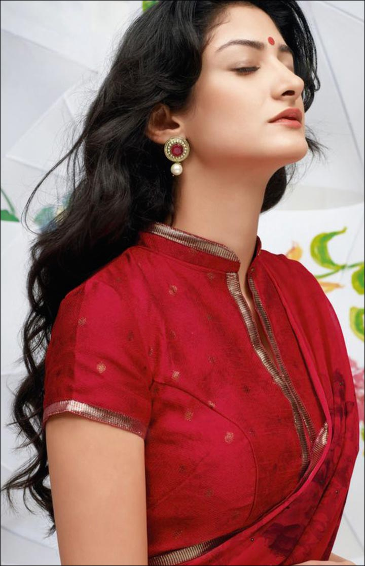 High Neck Blouse Designs - Plain Red Slit Neck Chinese Collar Blouse With Fancy Border Work