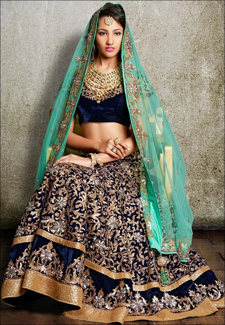 Lehenga For Engagement - Royal Blue Velvet Lehenga With Appliqué Work