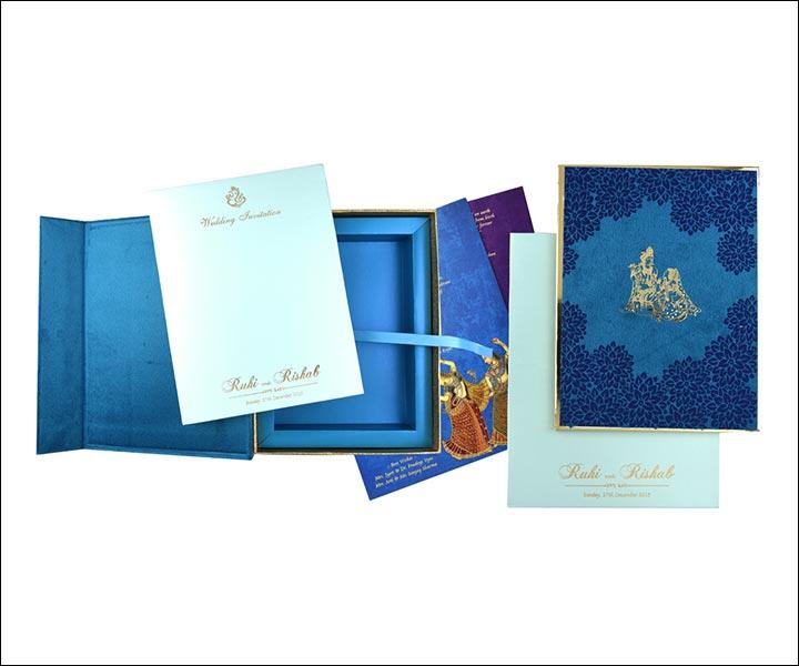 Designer Wedding Cards - Shades Of Blue