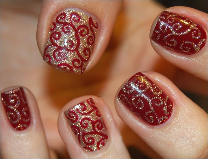 Bridal Nail Art Designs - Swirled Twirls Bridal Nail Art