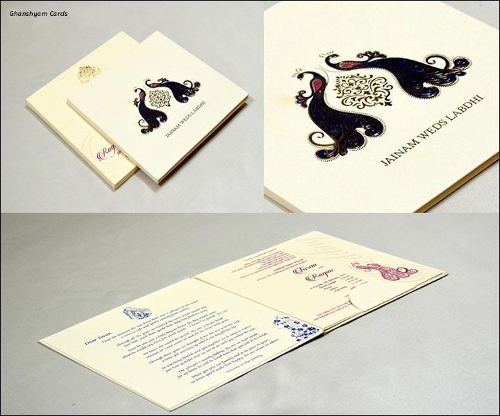 Designer Wedding Cards - White And Black