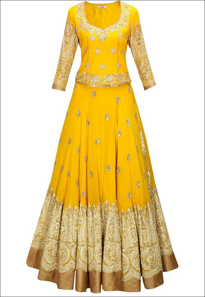 Lehenga For Engagement - Yellow And Gold Lehenga