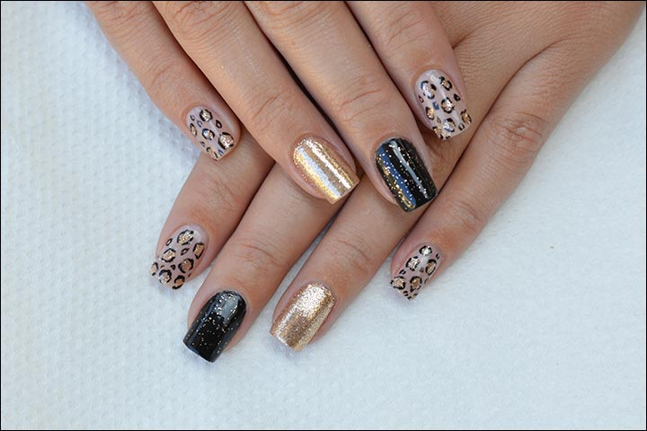 Bridal Nail Art Designs - Black And Gold Leopard Bridal Nail Art