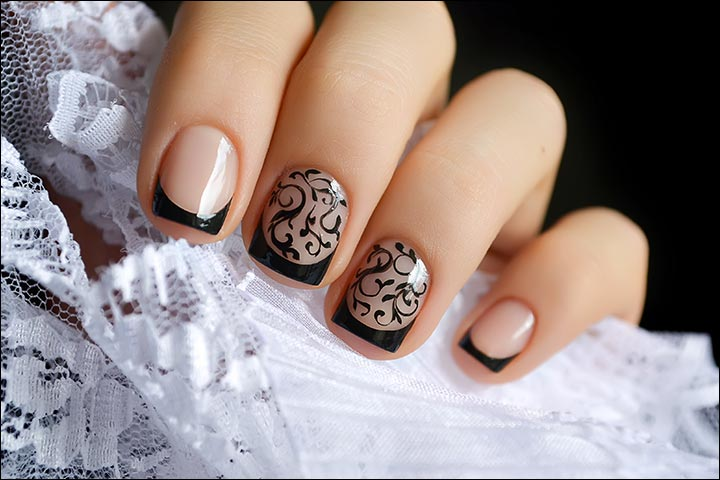 Bridal Nail Art Designs - Black And White Bridal Nail Art