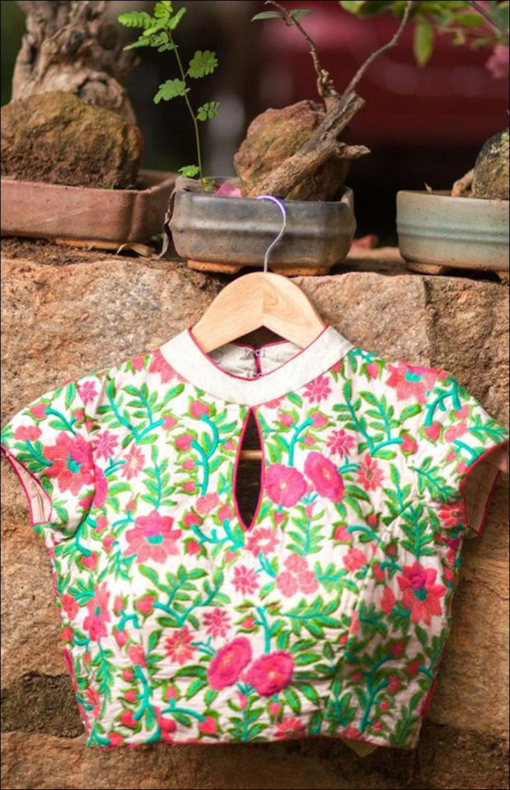 High Neck Blouse Designs - Pink And Green Zardosi Threadwork Blouse With Cutting Design