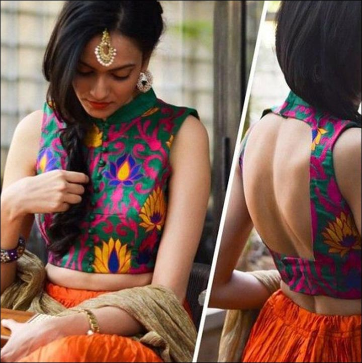 High Neck Blouse Designs - Green And Pink Floral Sleeveless Resham Work Cutting Blouse