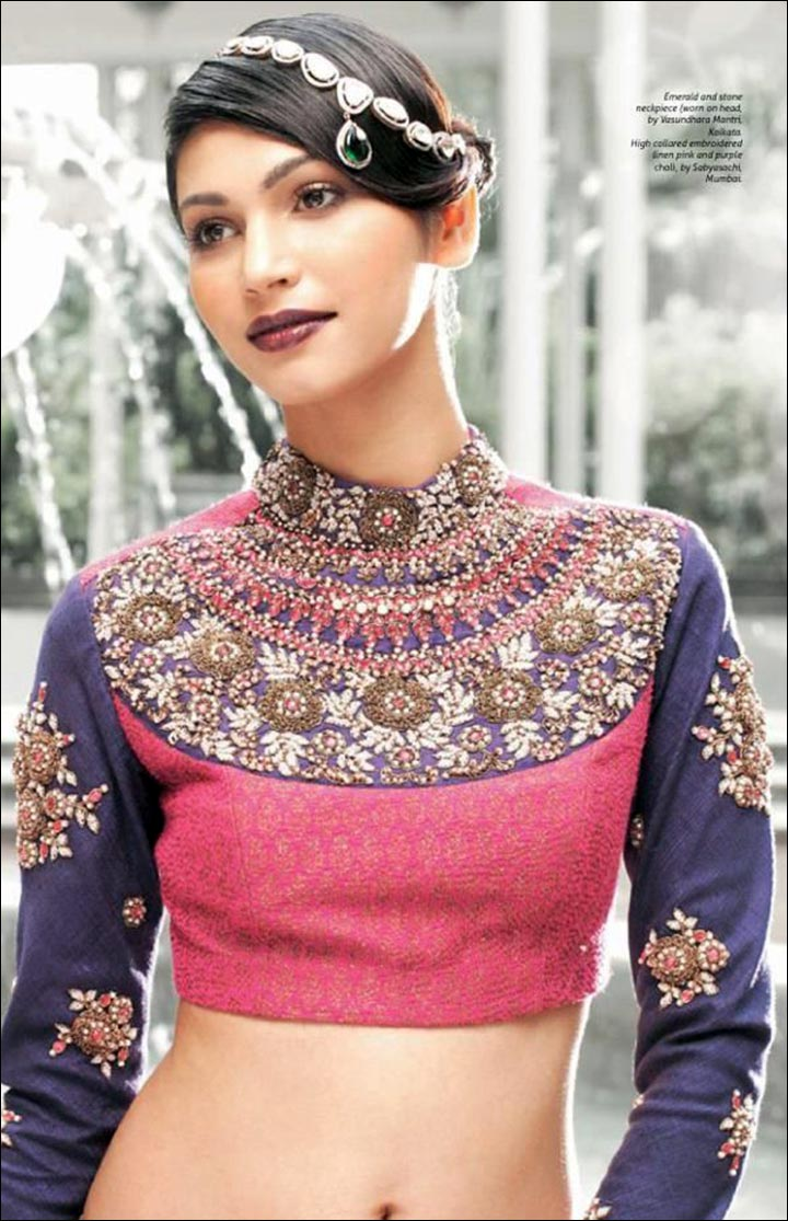 High Neck Blouse Designs - Fancy Blouse With Gota Patti And Kundan Work