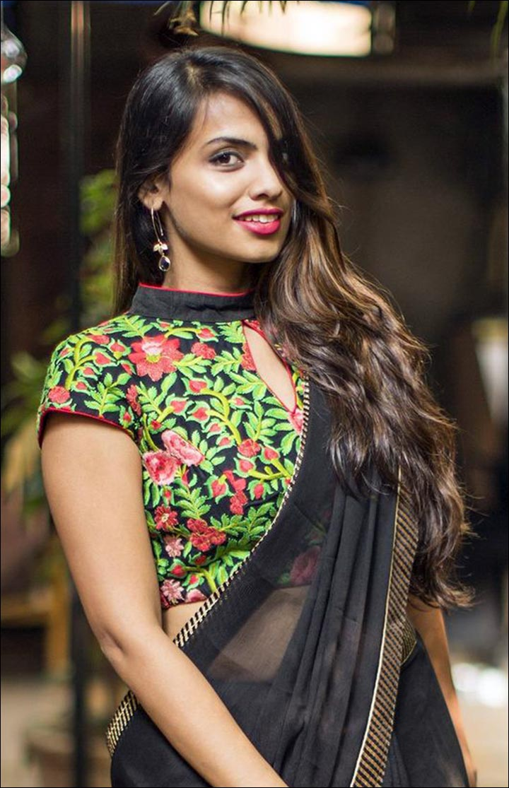 High Neck Blouse Designs - Green, Black And Pink Patchwork Blouse With Floral Prints