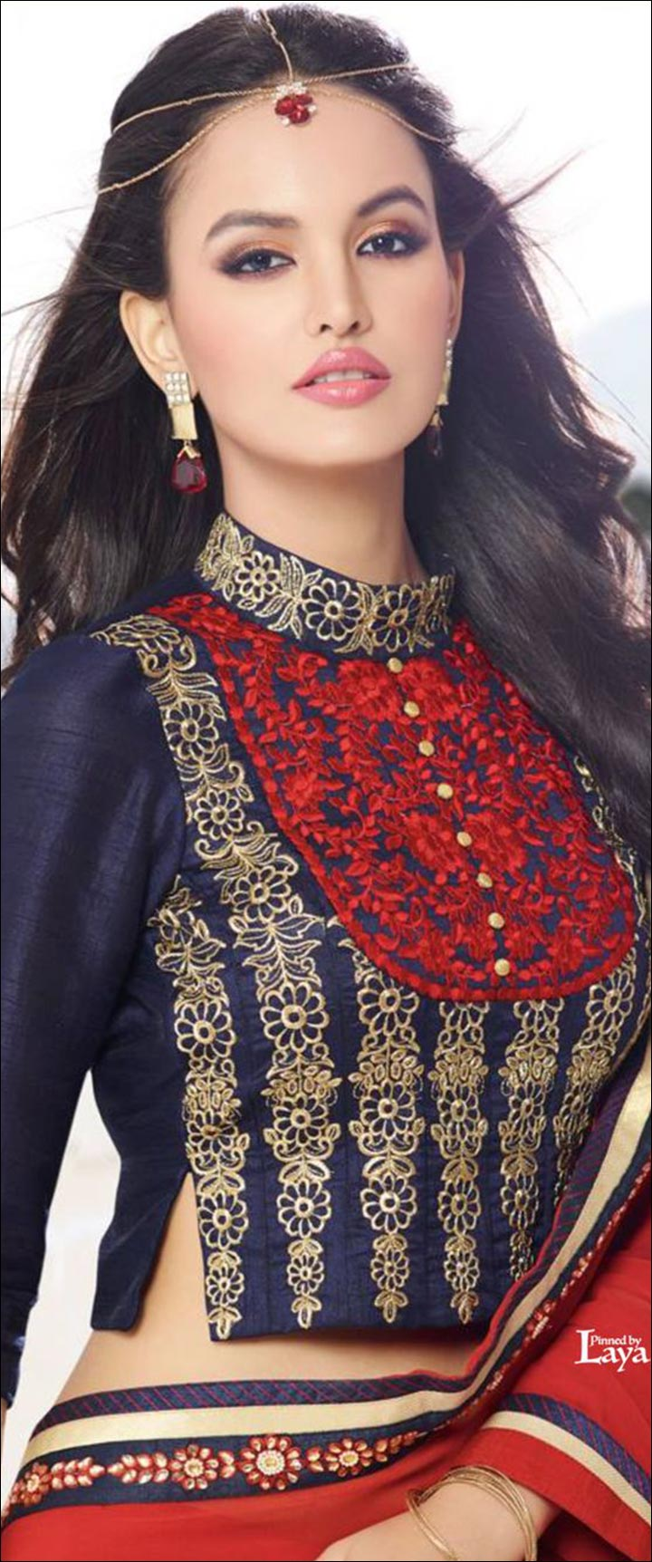 High Neck Blouse Designs - Fancy Blue And Red High Neck Zardozi Work Blouse