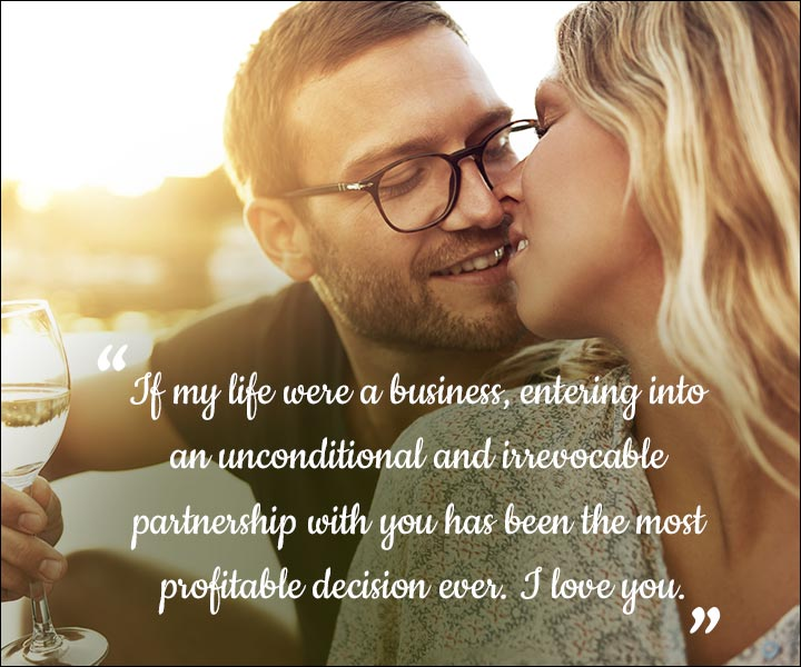 Mushy Love SMS For Husband - Our Business Partnership