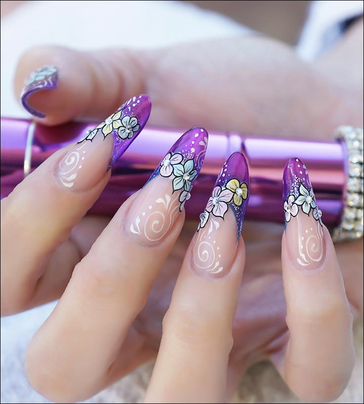 Bridal Nail Art Designs - Multicolored Floral Bridal Nail Art