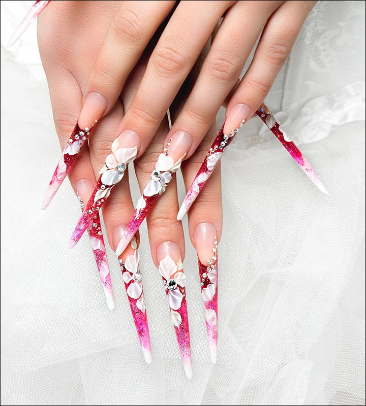 Bridal Nail Art Designs - Gorgeous Pink And White Floral Bridal Nail Art