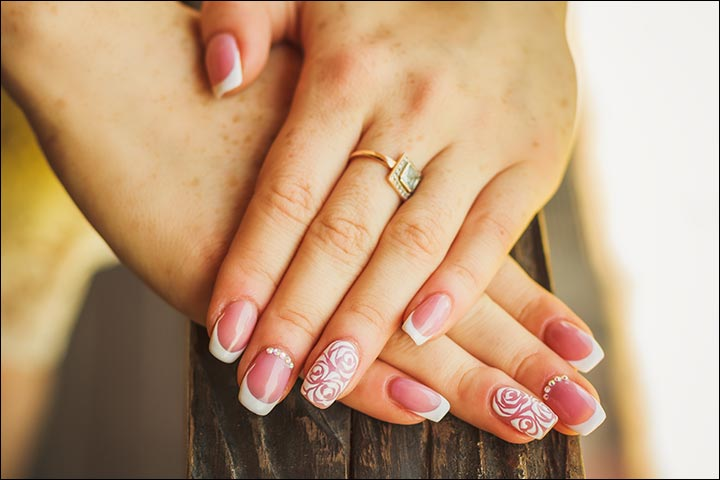 Bridal Nail Art Designs - French Manicure With A Floral Twist Bridal Nail Art