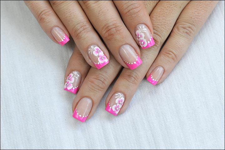 Bridal Nail Art Designs - Dotted Flower Pattern Bridal Nail Art