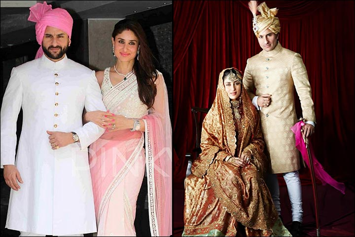 Saif And Kareena At Their Wedding And Inset Their Wedding Portrait