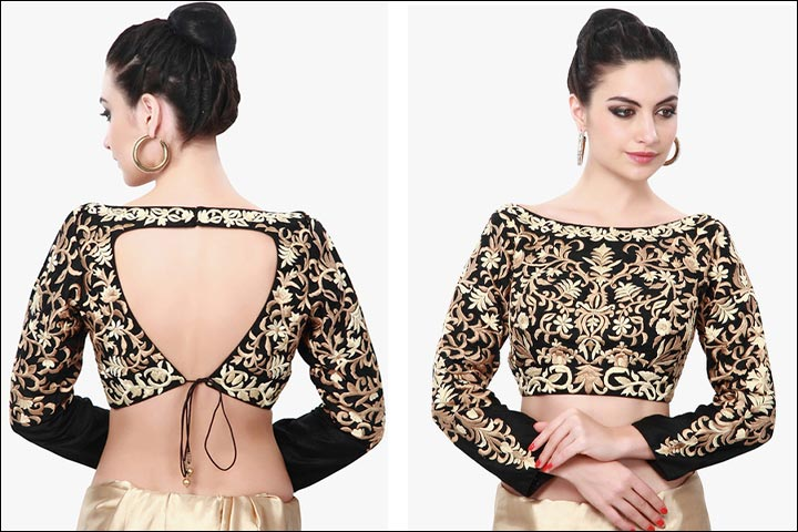 Boat Neck Blouse Designs - Black Raw Silk Long Sleeve Boat Neck Blouse With Heavy Gold Zari Embroidery And Triangle Cutting Back Pattern