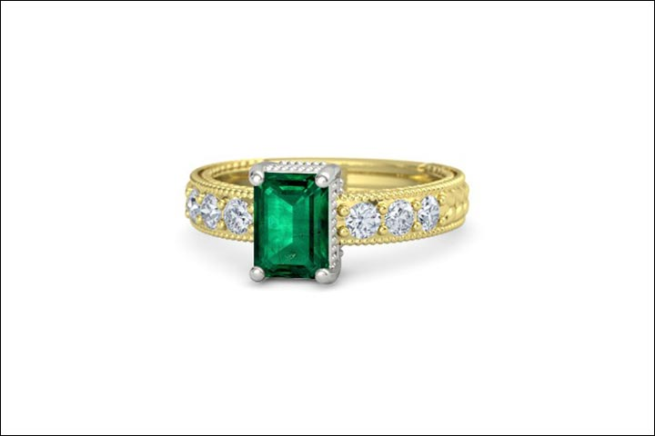 Yellow Gold Engagement Rings - Emerald