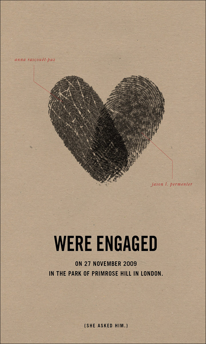 Engagement Invitation Ideas - Fingerprints On My Heart