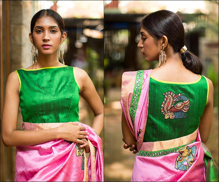 Boat Neck Blouse Designs - Green Raw Silk Sleeveless Boat Neck Pattern With Yellow Border And Kalamkari Work