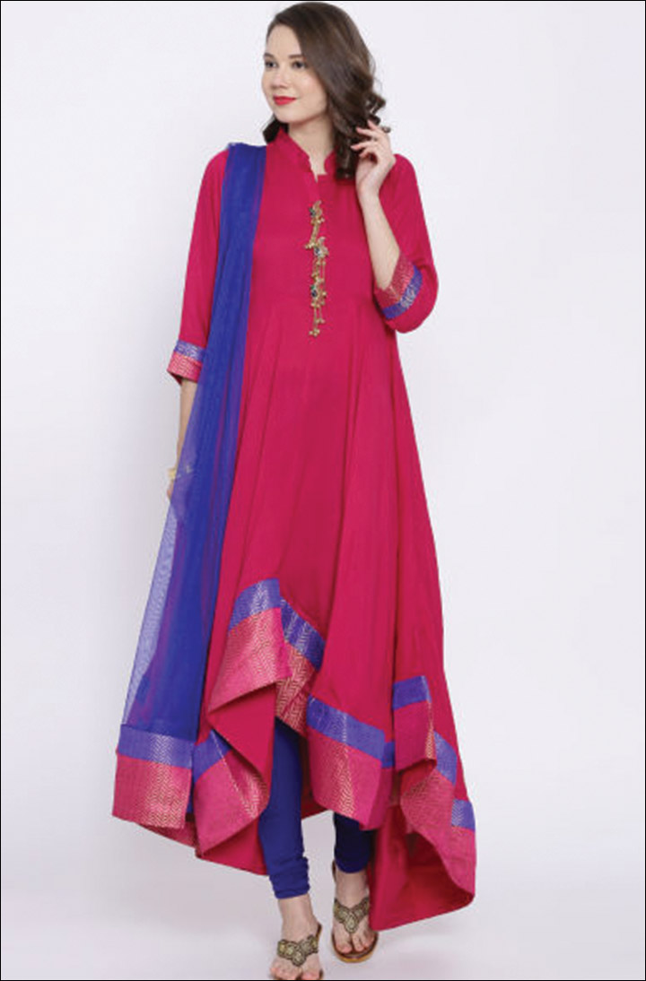 Churidar Neck Designs - Mandarin Collar Neck Style On Churidar Kameez
