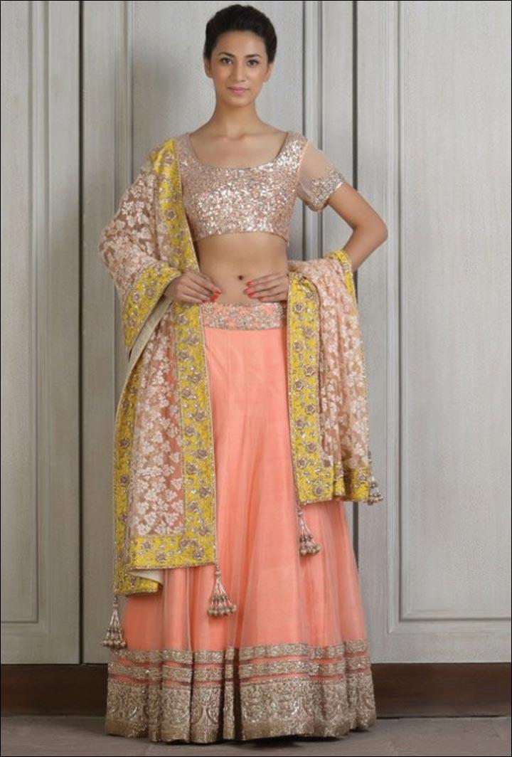 Ghagra Choli For Wedding - Peach Hues