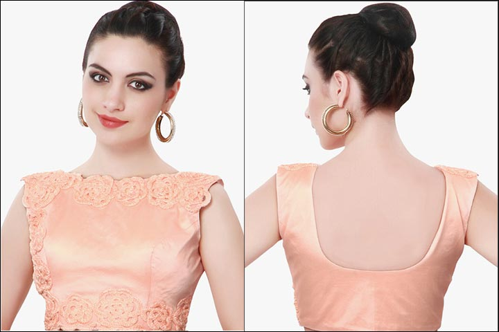 Boat Neck Blouse Designs - Perfect Peach Lace Floral Embroidery Sleeveless Deep Cutting Back Boat Neck Design Net Blouse