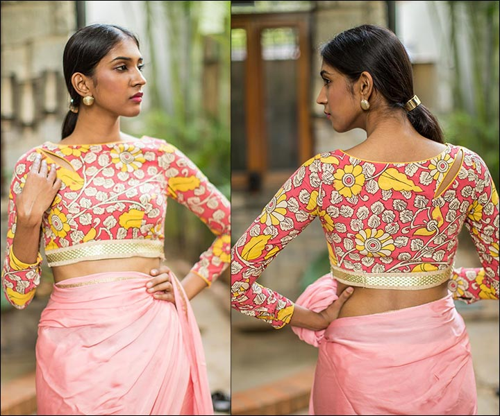 Pink And Mustard Kalamkari Work Boat Neck Blouse Design With Floral Pattern And Gold Border